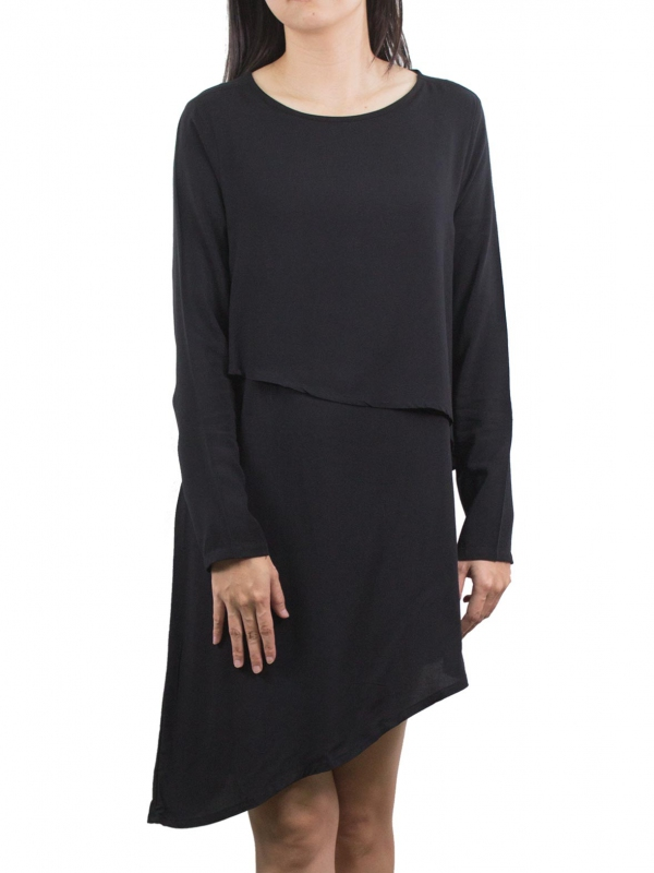 WOMEN LONG SLEEVE DRESS IN BLACK - DRESSES - WOMEN b7b162ab2